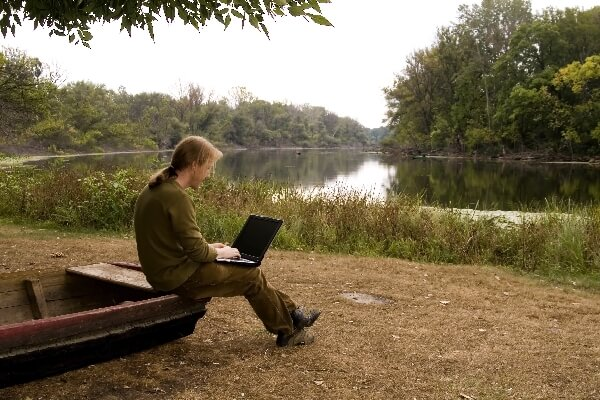 Working by the lake